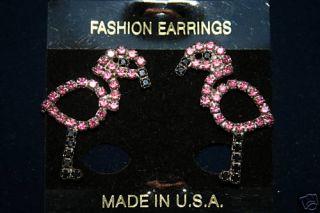 Pink Black Austrian Crystal Flamingo Earrings