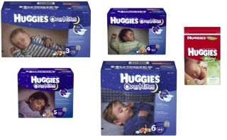 Huggies Overnites Baby Diapers Wipes Sizes 3 4 5 6 Night Bulk Value