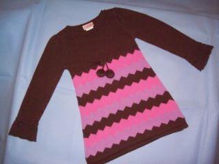 FLAPDOODLES Girls Boutique Brown & Pink Knit Sweater Dress Sz 6 6x