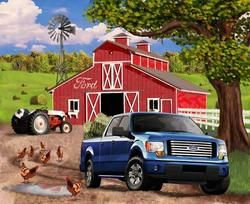 Ford Truck Barn Tractor Scenic Quilt Panel Fabric