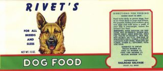 Vintage Can Label Dog Food German Shepard Illinois 60s