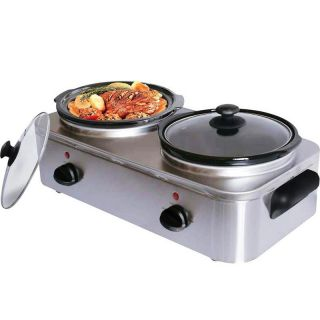 Stainless Steel Food Warmer Buffet Server 2 Electric Pots