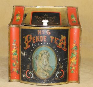 Small Clean Antique 19thC Victorian Country Store Tin Pekoe Tea Bin