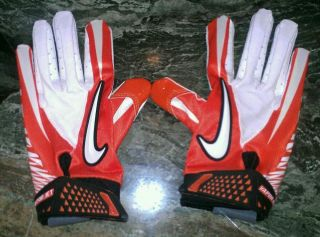 Nike Vapor Jet Football Gloves Orange White Adult Size M NFL Equipment