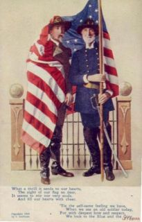 Civil War Soldiers American Flag Blue The Gray 1908