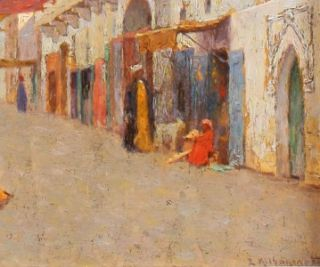 Edward Foote Listed Orientalist Impressionist Oil Painting Arab Fruit