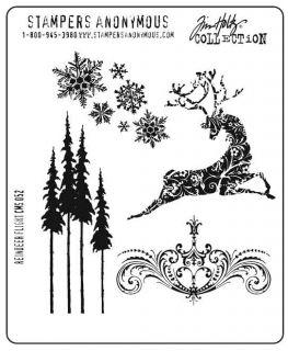 Tim Holtz Cling Rubber Stamp CMS052 Reindeer Flight