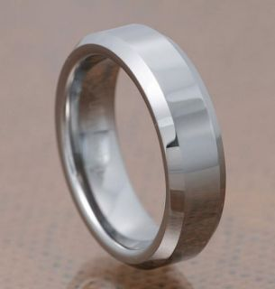 Tungsten Carbide Ring Grossy Flat Top Beveled Edge His Her Wedding