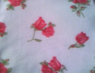 Soft Fleece Fabric by The Yard Pink Rose Print