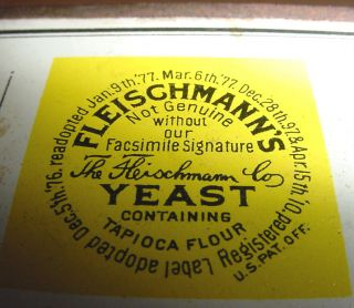 1910 Vintage Fleischmanns Yeast Old Country Store Tin Display Sign