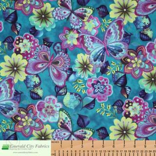 Kona Bay Rainbow Garden Butterfly Floral Teal Fabric
