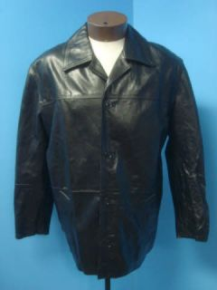 Florenz Design Italy Striking Classic Black Leather Men Coat Jacket Sz