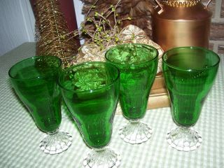 Anchor Hocking Forest Green Boopie Burple Iced Tea Goblets 6 3 4