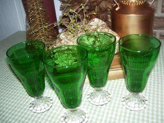 Anchor Hocking Forest Green Boopie Burple Iced Tea Goblets 6 3 4