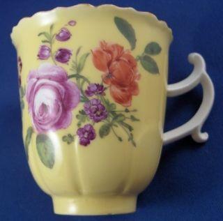 Meissen Porcelain Yellow Ground Flower Cup & Saucer Porzellan Tasse