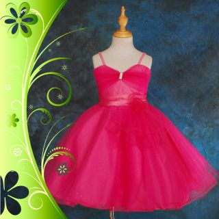 Hot Pink Tulle Ruffle Formal Dress Wedding Flower Girl Party Occasion