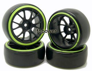 4pcs RC Drift Plastic Hard Tires Tyre Wheel Rim Fit 1 10 on Road Car