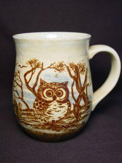 Coffee Mug Old Ceramic Pottery Cup Bird Squirrel Forrest Rustic