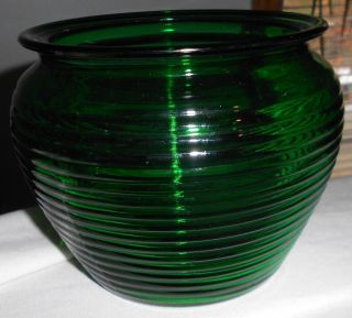 Green Depression Glass Planter Vintage Glass Vase Planter Forest Green