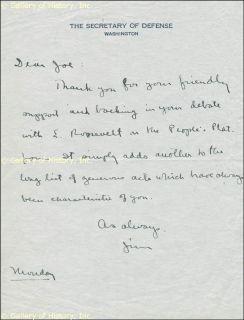 James V Forrestal Autograph Letter Signed