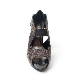Lady Party Brown Floral Open Toe High Heel Platform Sandal Pump Bootie