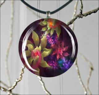 Flowers Colorful Fractal World Design 2 Round Cabochon Glass Pendant