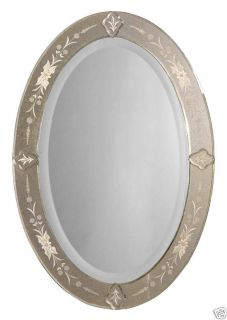 Venetian Etched Oval Frameless Wall Mirror Accent New