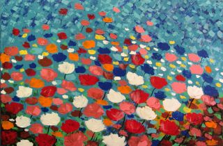 Happy Flowers Textured Original Acrylic Painting Poppy Field Poppies