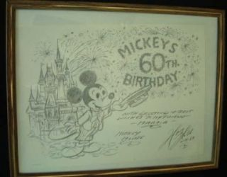 Walt Disney Mickey Mouse 60th Birthday Drawing by Harry Holt Signed