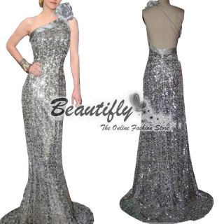 Sexy One Shoulder Silver Sequins Flowery Dresses