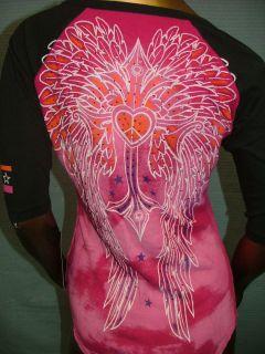 by AFFLICTION Pink FRANCESCA Rhinestones T SHIRT TEE TOP WOMENS M NWT
