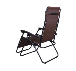 Gravity Lounge chair folding recliner garden Patio Pool Chair Brown