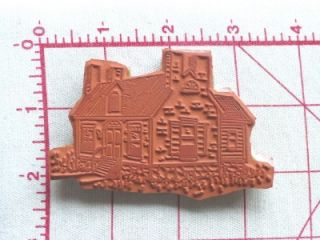 EZ Mounted Rubber Stamp Cobblestone Brick Country Home Scene House