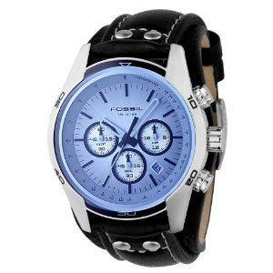 Fossil CH2564 Gents Black Leather Cuff Strap Watch with Blue Glass