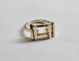 Tiffany Co Sterling Silver 18K Gold Frank Gehry Axis Ring Sz 9