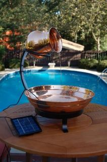 New Solar Powered Copper Table Top Water Fountain
