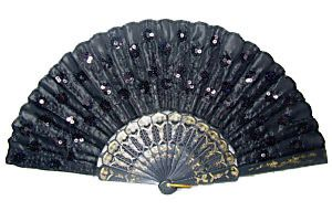 Black Lace Bead Embroidery Hand Folding Fan Party Wedding Dance Dcoret
