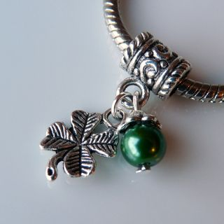St. Patrick Irish Four Leaf Clover Pearl Charm Spacer Bead for