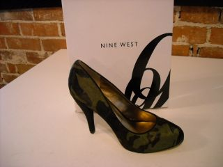 Nine West Finney Olive Green Camo Hair Calf Pumps New