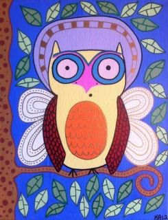 Ambrosino Mexican Folk Art Owl Angel Tree Print 8 x 10