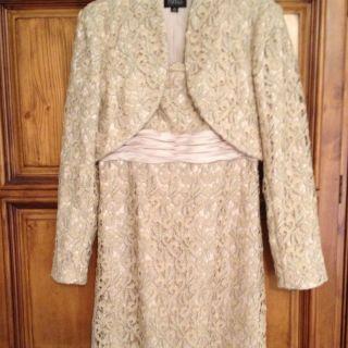 Adrianna Papell Strapless Lace Sheath Dress Bolero Champagne Size 10