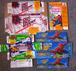 Spiderman Food Products Boxes Lot 4 Crunch N Munch Dr Pepper Capri Sun