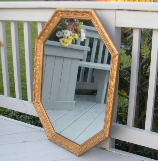 VICTORIAN ORNATE LARGE 34 GOLD CARVED OCTAGON WOOD FRAME MIRROR