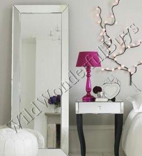 Venetian Frameless Floor Mirror Beveled Leaner 79H Modern Lines