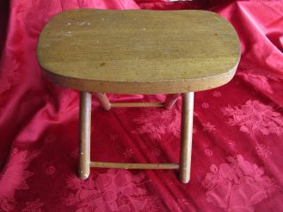 Solid Wood Nevco Yugoslavia Folding Carry Stool Table hunt fish camp