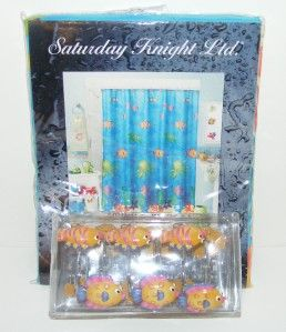 Knight SEALIFE Fabric SHOWER CURTAIN & HOOKS Set Tropical FISH Ocean