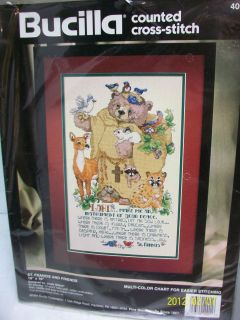 COUNTED CROSS STITCH KIT ST FRANCIS FRIEND ANIMALS 10X16 SEALED