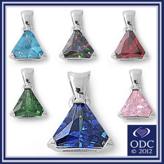 Gemstone Triangle Solitaire 925 Sterling Silver Pendant