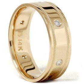 Yellow Gold Ring Geniune Diamond Comfort Fit Wedding Band New