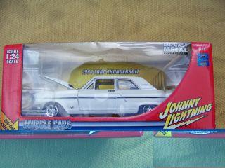 24 scale White 1964 Ford Fairlane Thunderbolt by Johnny Lightning